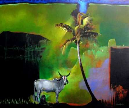 Animals Acrylic Art Painting title 'God Story' by artist Pradip Sengupta
