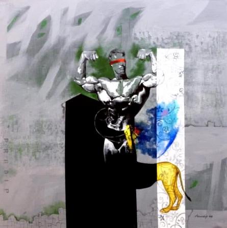 Surrealist Acrylic Art Painting title 'Leo The great' by artist Pradip Sengupta