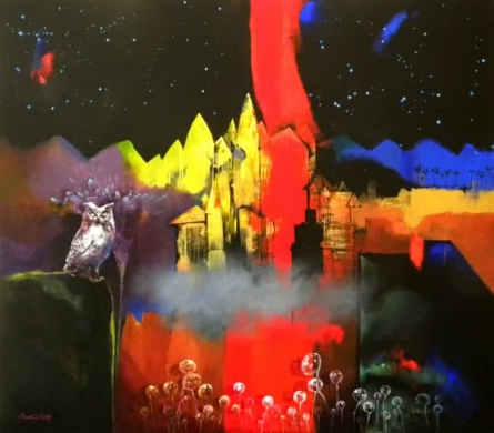 Surrealist Acrylic Art Painting title Night Watch by artist Pradip Sengupta
