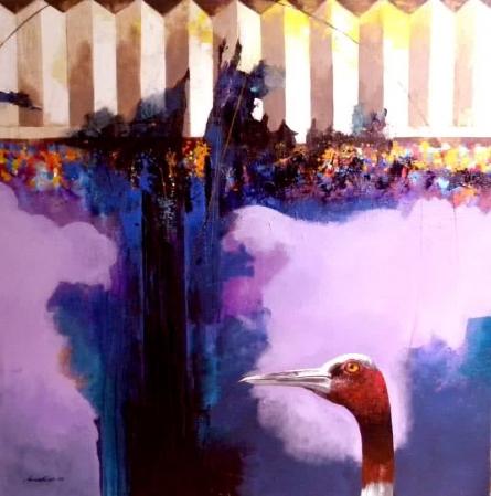 Sharp Look | Painting by artist Pradip Sengupta | acrylic | Canvas