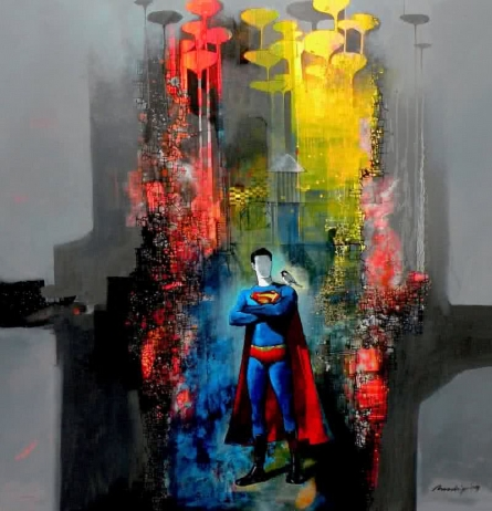 Surrealist Acrylic Art Painting title 'Superman' by artist Pradip Sengupta