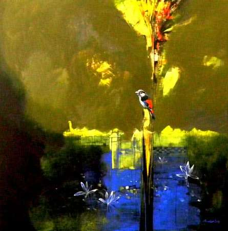 Animals Acrylic Art Painting title The Last Light Of The Day by artist Pradip Sengupta