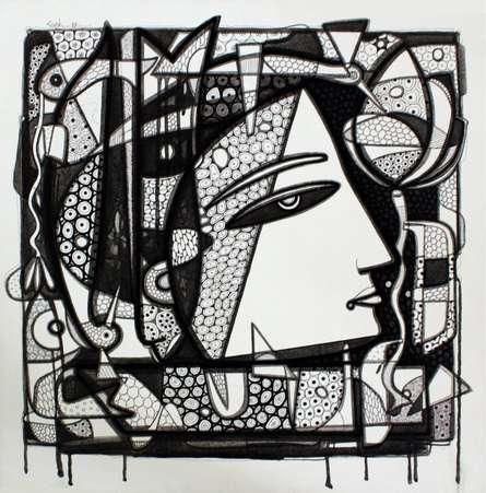 Figurative Ink Art Drawing title 'Untitled 13' by artist Girish Adannavar