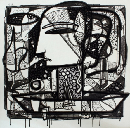 Untitled 12 | Drawing by artist Girish Adannavar |  | ink | Canvas