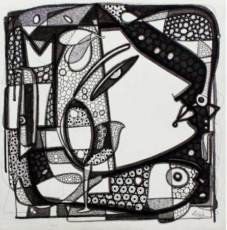 Untitled 10 | Drawing by artist Girish Adannavar |  | ink | Canvas