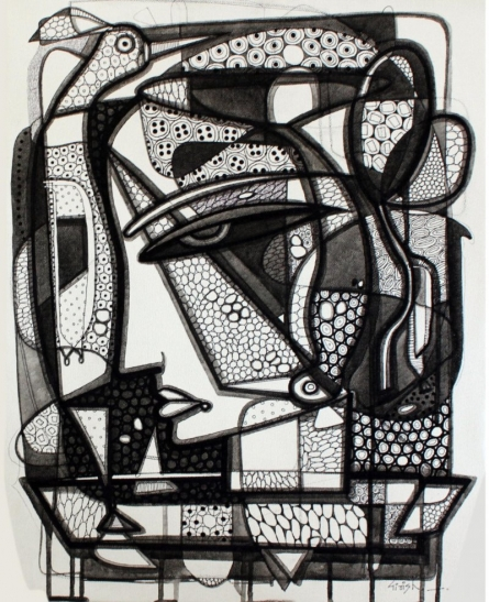 Untitled 8 | Drawing by artist Girish Adannavar |  | ink | Canvas