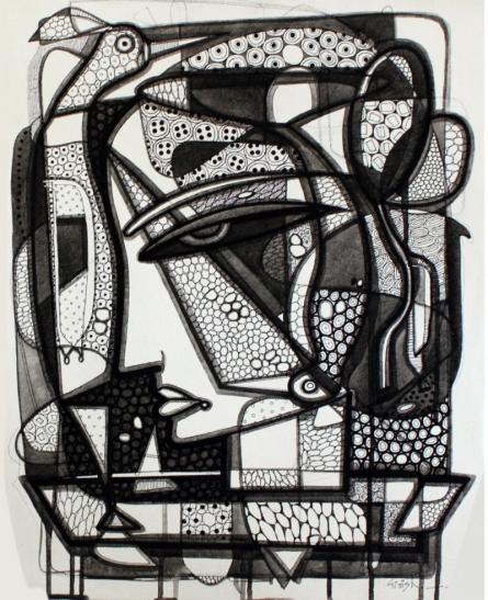 Untitled 8 | Drawing by artist Girish Adannavar |  | ink | Canvas