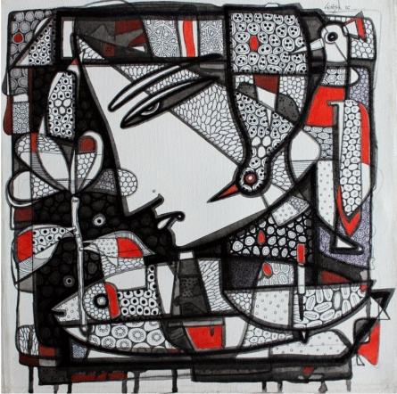 Untitled 6 | Drawing by artist Girish Adannavar |  | ink | Canvas