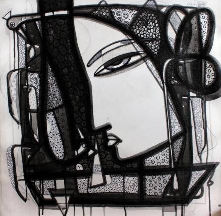 Ink Paintings | Drawing title Untitled 5 on Canvas | Artist Girish Adannavar