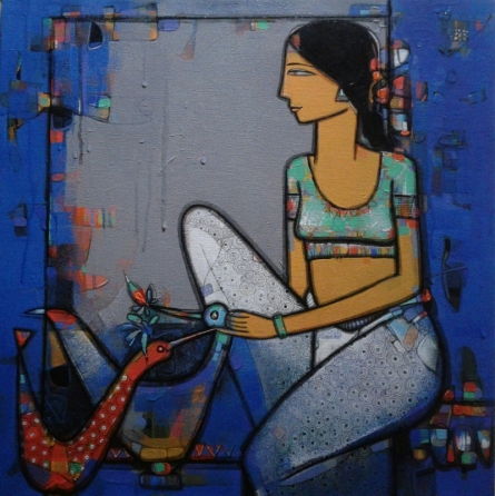 Figurative Acrylic Art Painting title 'Lady With Bird 4' by artist Girish Adannavar
