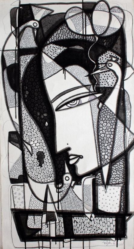 Figurative Ink Art Drawing title 'Untitled 3' by artist Girish Adannavar