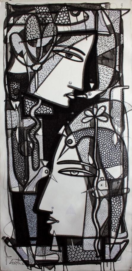 Untitled | Drawing by artist Girish Adannavar |  | ink | Canvas