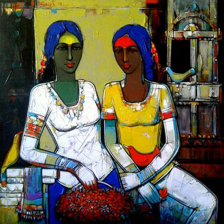 Figurative Acrylic Art Painting title 'Untitled 12' by artist Girish Adannavar