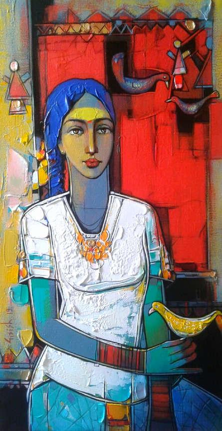 Figurative Acrylic Art Painting title 'Untitled 13' by artist Girish Adannavar