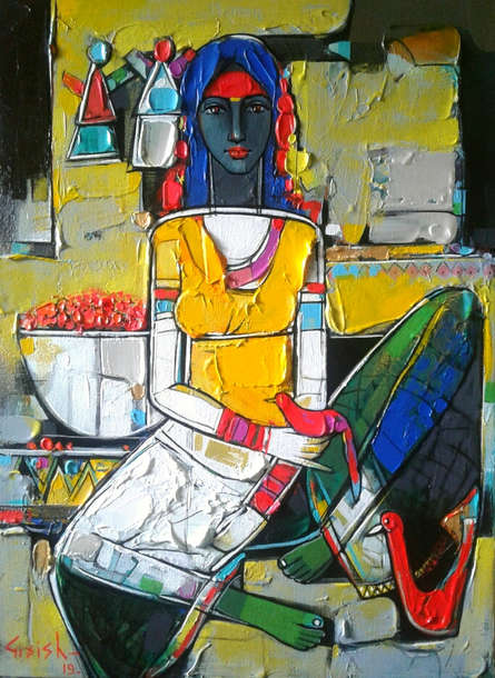 Figurative Acrylic Art Painting title 'Untitled 15' by artist Girish Adannavar
