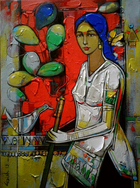Figurative Acrylic Art Painting title 'Untitled 16' by artist Girish Adannavar