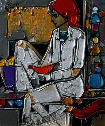 Figurative Acrylic Art Painting title 'Untitled 19' by artist Girish Adannavar