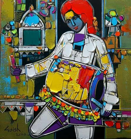 Figurative Acrylic Art Painting title 'Untitled 28' by artist Girish Adannavar
