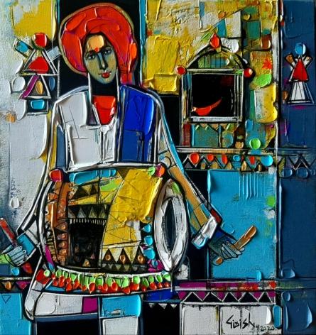 Figurative Acrylic Art Painting title 'Untitled 29' by artist Girish Adannavar