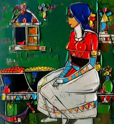 Figurative Acrylic Art Painting title Untitled 30 by artist Girish Adannavar