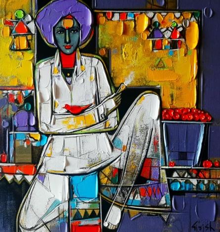 Figurative Acrylic Art Painting title 'Untitled 32' by artist Girish Adannavar