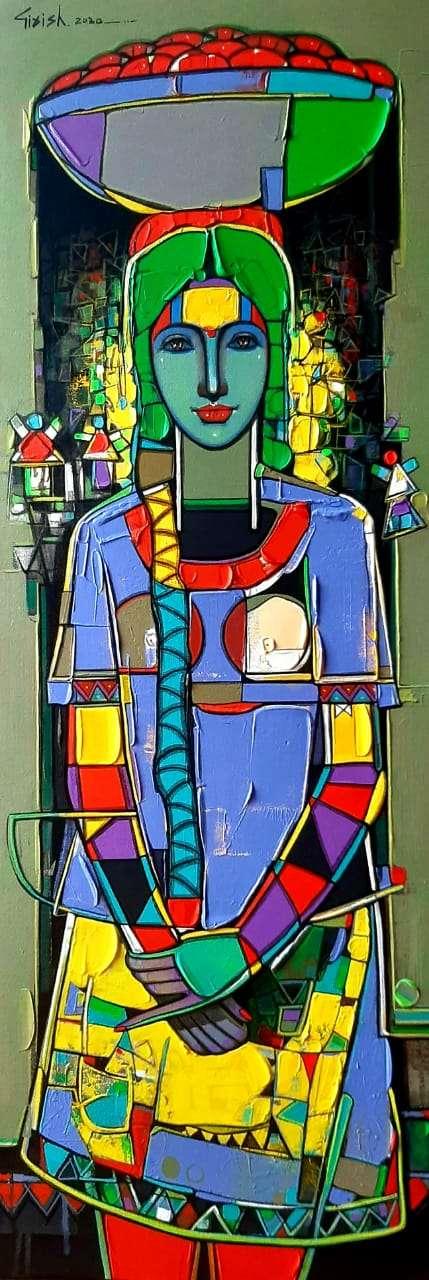 Figurative Acrylic Art Painting title 'Untitled 35' by artist Girish Adannavar