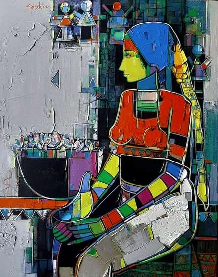 Figurative Acrylic Art Painting title Untitled 36 by artist Girish Adannavar