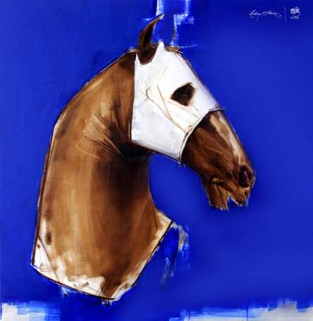 Animals Acrylic-oil Art Painting title 'Ink Blue' by artist Aditya Shirke