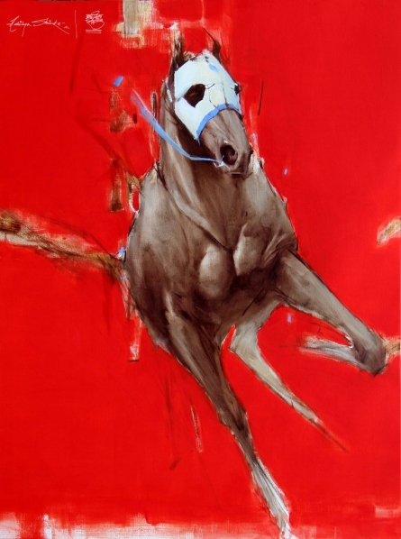 Red And White | Painting by artist Aditya Shirke | acrylic-oil | Canvas
