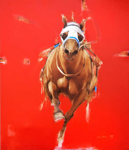 Animals Acrylic-oil Art Painting title Red And White 2 by artist Aditya Shirke