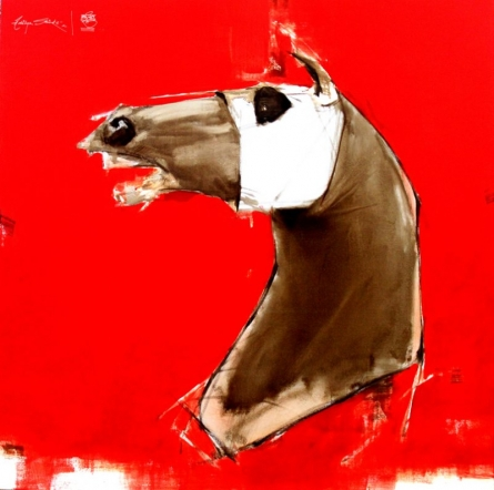 Animals Acrylic-oil Art Painting title 'The Red charge' by artist Aditya Shirke