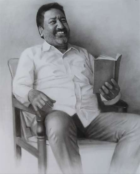 Figurative Charcoal Art Drawing title Father by artist Kulwinder Singh
