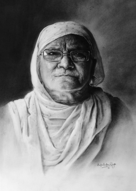 Grandmother | Drawing by artist Kulwinder Singh | | charcoal | Paper