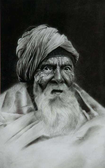 Portrait Charcoal Art Drawing title 'Old Man 1' by artist Kulwinder Singh