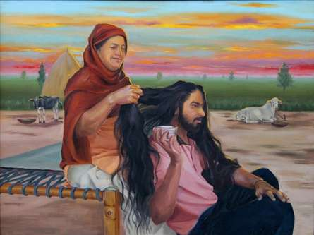 Lifestyle Oil Art Painting title 'Priceless Bonding' by artist Kulwinder Singh