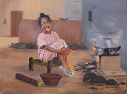 Lifestyle Oil Art Painting title 'Priceless Happiness' by artist Kulwinder Singh