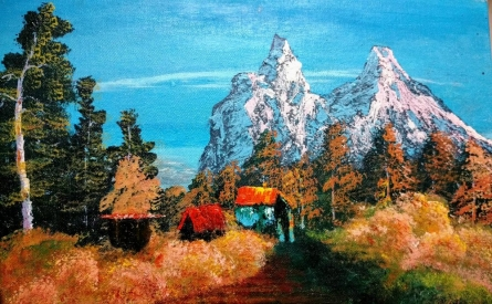 Landscape Acrylic Art Painting title 'Snowy Mountains' by artist Rahul Sharma