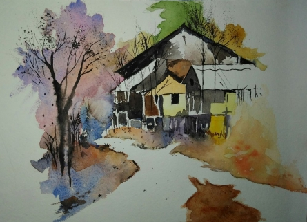 Landscape Watercolor Art Painting title 'Img 20170127 225746' by artist MRITYUNJOY Chakraborty