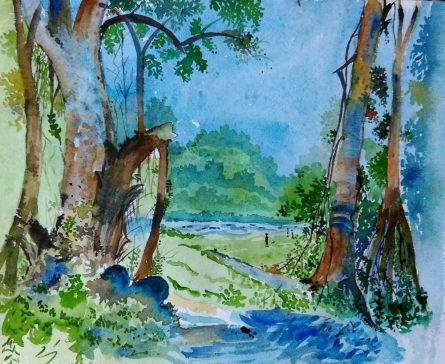 Landscape Watercolor Art Painting title 'Img 20170211 214119' by artist MRITYUNJOY Chakraborty