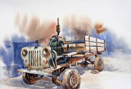 Landscape Watercolor Art Painting title Chhakada by artist Vikrant Shitole