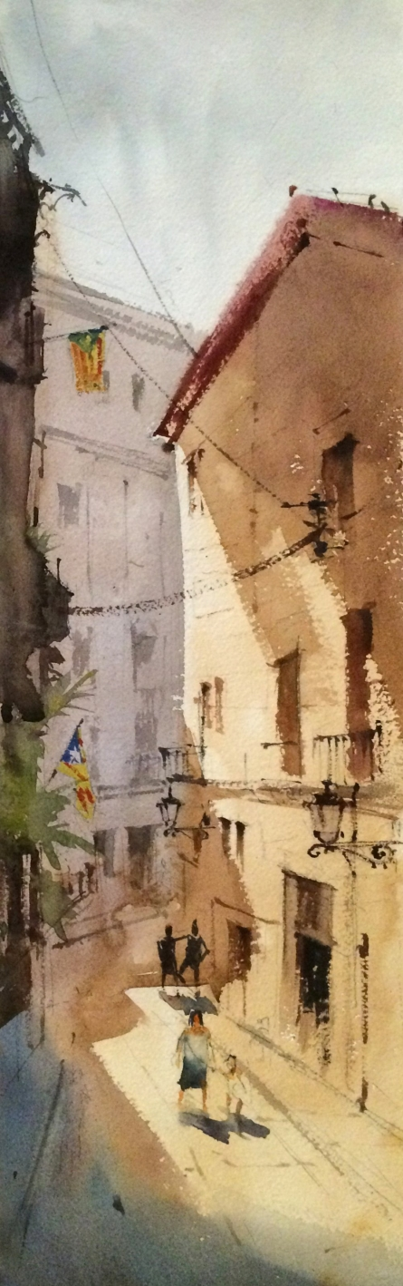 Landscape Watercolor Art Painting title Girona street Spain by artist Vikrant Shitole