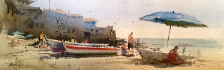Landscape Watercolor Art Painting title 'Calella beach Spain' by artist Vikrant Shitole