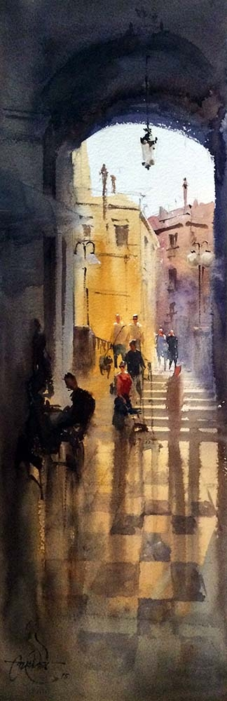 Girona cafe,Spain | Painting by artist Vikrant Shitole | watercolor | Paper