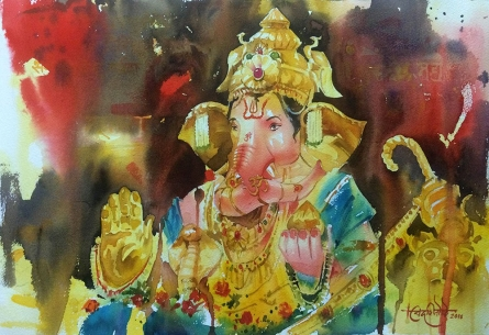 Landscape Watercolor Art Painting title Deva ShreeGANESHA by artist Vikrant Shitole