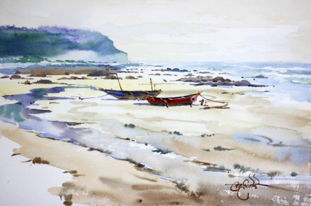 Landscape Watercolor Art Painting title 'A Lonely Life' by artist Vikrant Shitole