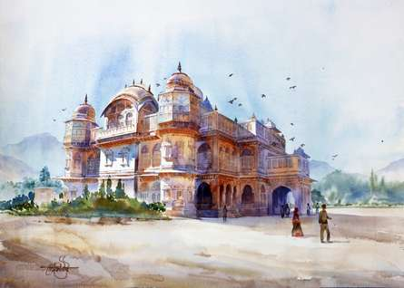 Landscape Watercolor Art Painting title Vijay Vilas Palace Mandvi by artist Vikrant Shitole