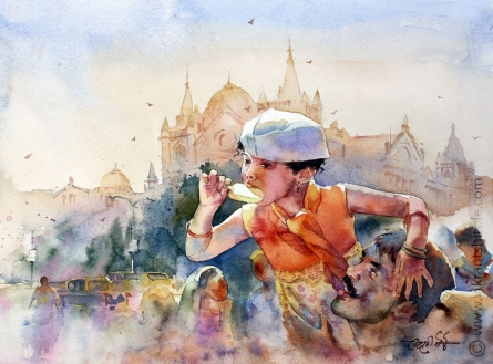 Landscape Watercolor Art Painting title 'Warm sun Warmer love' by artist Vikrant Shitole