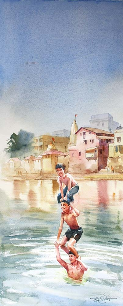 Vikrant Shitole Paintings | Watercolor Painting - Chilling in Banganga by artist Vikrant Shitole | ArtZolo.com