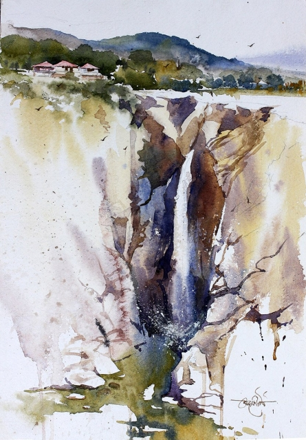 Landscape Watercolor Art Painting title 'Jog Falls' by artist Vikrant Shitole