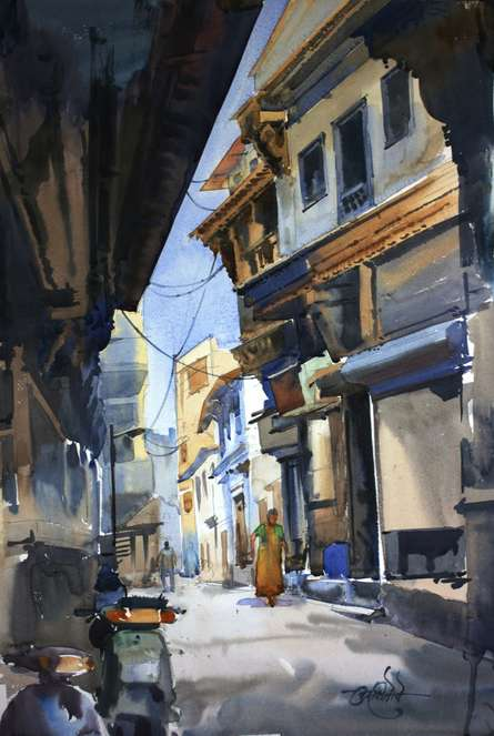 Landscape Watercolor Art Painting title 'Ahemadabad Street 1' by artist Vikrant Shitole